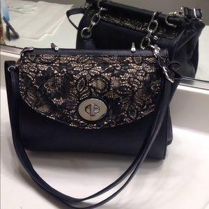 Beautiful ELLE Champagne & Black faux leather bag